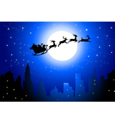 Santa sleigh on City in Christmas Night vector image