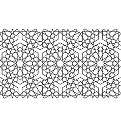 Seamless islamic pattern black line persian motif vector