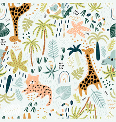 seamless jungle pattern with cute hand drawn vector image