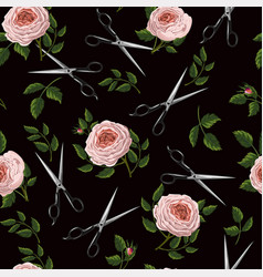 seamless pattern with roses and scissors vector image
