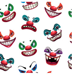 Seamless pattern with scary clown faces on the vector