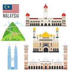 set with malaysia landmarks vector image