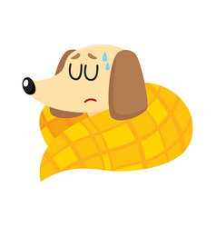sick baby badger dog having flu fever sleeping vector image