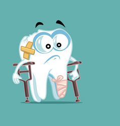 Sick broken tooth in crutches vector