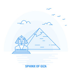 Sphinx of giza blue landmark creative background vector