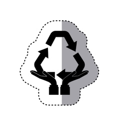 Sticker silhouette of hands holding a recycling vector