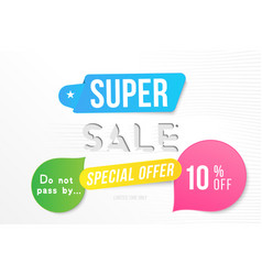super sale 10 off discount banner template for vector image