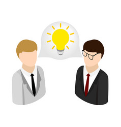 Two businessmen get idea icon isometric 3d style vector image
