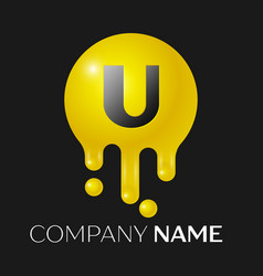 U letter splash logo yellow dots and bubbles vector