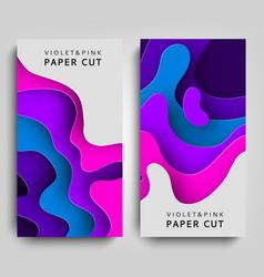 vertical banners modern paper art cartoon abstract vector image