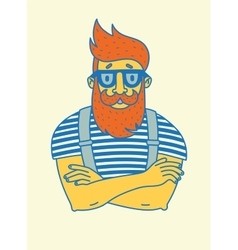 Vintage hipster with beard and mustache vector