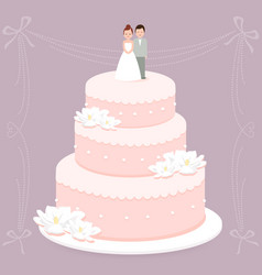 Wedding cake with bride and groom cake toppers vector