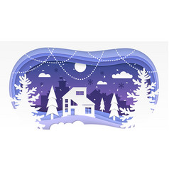 winter landscape - modern paper cut vector image
