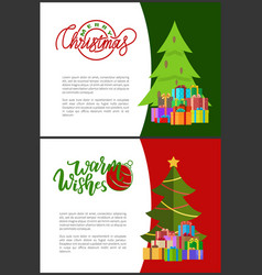wishes of happy new year merry christmas postcards vector image
