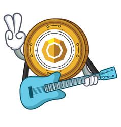 With guitar komodo coin mascot cartoon vector