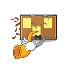 With trumpet bulletin board isolated in mascot vector