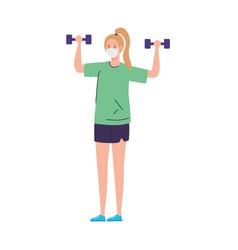 Woman lifting weights using medical protective vector