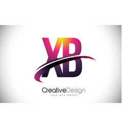 Xb x b purple letter logo with swoosh design vector