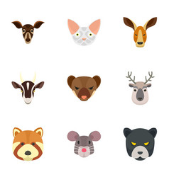 zoo animal icon set flat style vector image