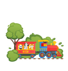 zoo children train on child railway panda tiger vector image
