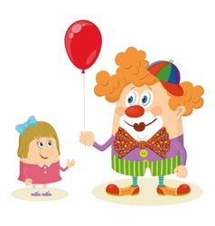 Circus clown with balloon and girl vector image vector image