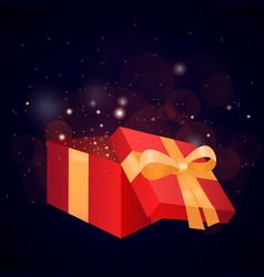 gift open gift box box present ribbon gift box vector image vector image