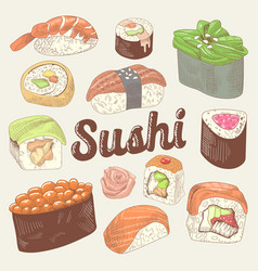 japanese food hand drawn doodle sushi vector image vector image