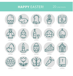 Linear monochrome icons easter vector