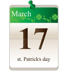 St Patricks Day Calendar vector image