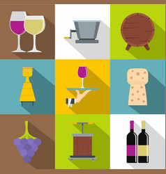 wine shop icons set flat style vector image