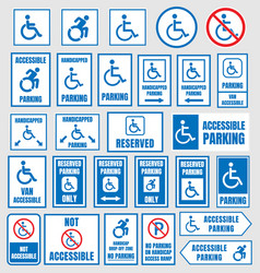 accesible parking signs disabled people parking vector image vector image