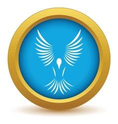Gold bird icon vector