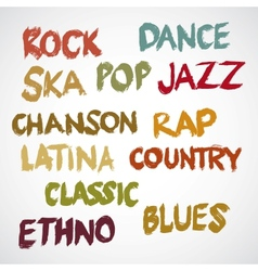Music genres in grunge vector image vector image