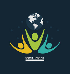 pictogram people with earth globe concept social vector image