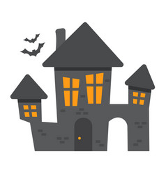 scary house flat icon halloween and scary vector image