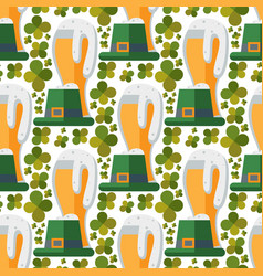 beer glass seamless pattern clover patrick vector image vector image