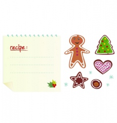 Christmas cookies with recipe vector image vector image