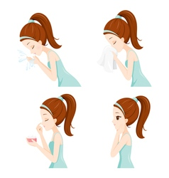 Girl Clean Face Set Side vector image vector image