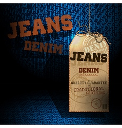 Jeans background tag vector image vector image