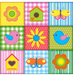 Patchwork with birdhouse vector image vector image