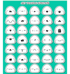 Set of 35 stickers cute sketch characters with vector image vector image
