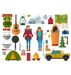 set of hiking people and camping elements vector image