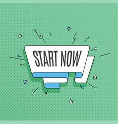 start now retro design element in pop art style vector image