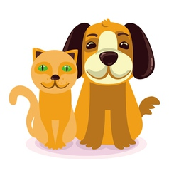 cartoon - smiling dog and cat vector image vector image