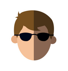Faceless head man with sunglasses people image vector