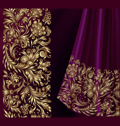 seamless border in victorian style vector image vector image