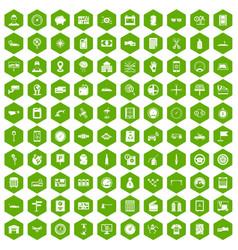 100 auto repair icons hexagon green vector