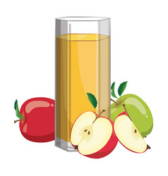 a glass fresh apple juice vitamin refreshing vector image