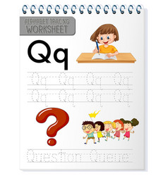 alphabet tracing worksheet with letter q and q vector image