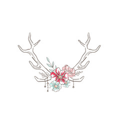 Antlers with flowers hand drawn floral vector